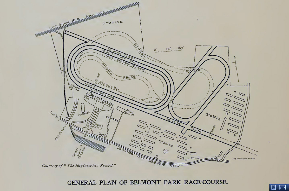 colin\u0027s ghost thoroughbred horse racing history general plan of Belmont Park Racing